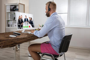 Conference calling man