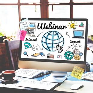 webinar engagement image on computer monitor on desk